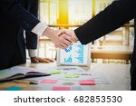 young businessmen collaborate... | Shutterstock . vector #682853530