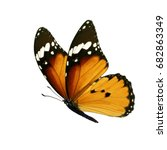 Stock photo beautiful colorful monarch butterfly isolated on white background 682863349
