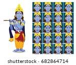 hindu god krishna janmashtami...   Shutterstock .eps vector #682864714