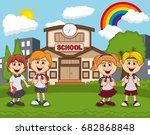 students in front of school... | Shutterstock . vector #682868848