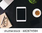 digital tablet blank screen on... | Shutterstock . vector #682874584