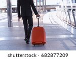 businessman and suitcase in the ... | Shutterstock . vector #682877209