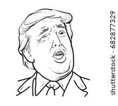 hand draw donald trump isolated ... | Shutterstock .eps vector #682877329