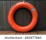 life buoy hang on wooden wall...   Shutterstock . vector #682877860