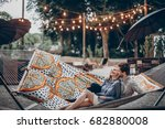 romantic hipster couple enjoy... | Shutterstock . vector #682880008