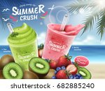 fruit smoothies ads  kiwi and... | Shutterstock .eps vector #682885240