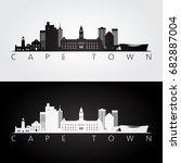 cape town skyline and landmarks ... | Shutterstock .eps vector #682887004