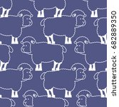 sheep pattern. ewe ornament.... | Shutterstock .eps vector #682889350