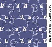sheep pattern. ewe ornament.... | Shutterstock .eps vector #682889350