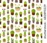 cartoon cactus plant in pots... | Shutterstock .eps vector #682893229