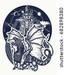 dragon and castle tattoo art....   Shutterstock .eps vector #682898380