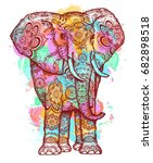 color elephant t shirt design... | Shutterstock .eps vector #682898518
