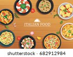 italian food on a wooden table... | Shutterstock .eps vector #682912984