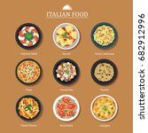set of italian food flat design.... | Shutterstock .eps vector #682912996