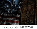 usa flag on a wood surface   Shutterstock . vector #682917544