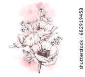 elegant flower arrangement with ... | Shutterstock . vector #682919458
