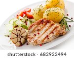 grilled steak  boiled potatoes... | Shutterstock . vector #682922494
