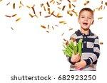 beautiful child golden confetti ...   Shutterstock . vector #682923250