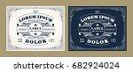 vintage label design set with... | Shutterstock .eps vector #682924024