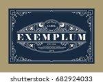 Stock vector vintage elegant line art logo emdlem and monogram design vector template 682924033