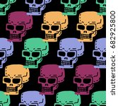 skull cartoon seamless pattern. ... | Shutterstock .eps vector #682925800