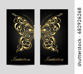 set of vertical banners. gold...   Shutterstock .eps vector #682926268