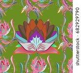 vector cute pattern in small... | Shutterstock .eps vector #682929790