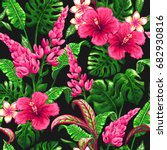 tropical leaves and flowers... | Shutterstock .eps vector #682930816