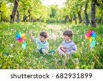 portrait of two boys  sibling... | Shutterstock . vector #682931899