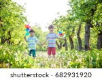 two happy children playing in... | Shutterstock . vector #682931920