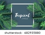 trendy summer tropical palm... | Shutterstock .eps vector #682935880