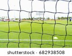 soccer net on perfect green... | Shutterstock . vector #682938508