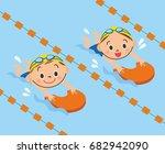 children swimming in the pool   Shutterstock .eps vector #682942090