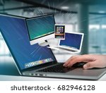 view of a computer and devices... | Shutterstock . vector #682946128