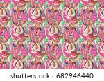 seamless pattern with hand... | Shutterstock . vector #682946440