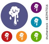 dripping slime icons set in... | Shutterstock .eps vector #682947016