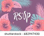 floral background with hibiscus ... | Shutterstock .eps vector #682947430