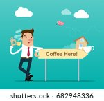 businessman holding a cup of... | Shutterstock .eps vector #682948336