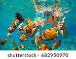 happy family   girl in... | Shutterstock . vector #682950970