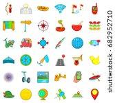 summer travel icons set.... | Shutterstock .eps vector #682952710