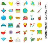 adventure icons set. cartoon... | Shutterstock .eps vector #682952794