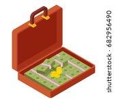 open portfolio with money ... | Shutterstock .eps vector #682956490
