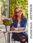 portrait of redhead female in... | Shutterstock . vector #682958638