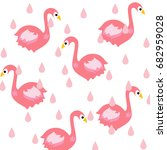 flamingo and rain background | Shutterstock .eps vector #682959028
