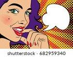 sexy pop art woman with... | Shutterstock .eps vector #682959340
