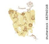 drawing tasmania vector map...   Shutterstock .eps vector #682960168