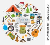 camping equipment .set of... | Shutterstock .eps vector #682966150