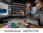 graphic designer at work. color ...   Shutterstock . vector #682967140