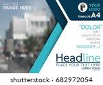 blue flyer cover business... | Shutterstock .eps vector #682972054