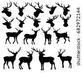 deer silhouette   vector ... | Shutterstock .eps vector #682972144